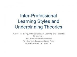 InterProfessional Learning Styles and Underpinning Theories Author Ali