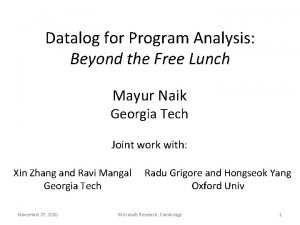 Datalog for Program Analysis Beyond the Free Lunch