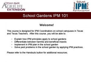 School Home Work IPM Pest Management School Gardens