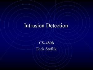 Intrusion Detection CS480 b Dick Steflik Hacking Attempts