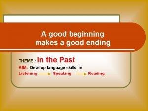 A good beginning makes a good ending THEME
