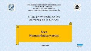 COLEGIO DE CIENCIAS Y HUMANIDADES DIRECCIN GENERAL SECRETARA