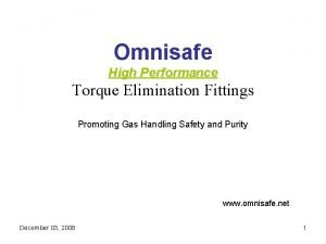 Omnisafe High Performance Torque Elimination Fittings Promoting Gas