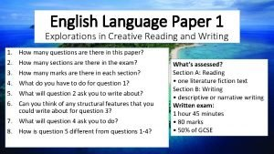 English Language Paper 1 Explorations in Creative Reading