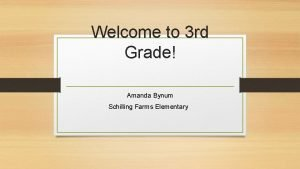 Welcome to 3 rd Grade Amanda Bynum Schilling