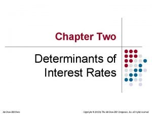 Chapter Two Determinants of Interest Rates Mc GrawHillIrwin