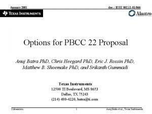 January 2001 doc IEEE 802 11 01066 Options