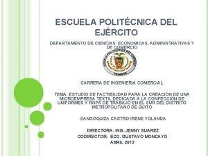 ESCUELA POLITCNICA DEL EJRCITO DEPARTAMENTO DE CIENCIAS ECONOMICAS