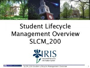 Student Lifecycle Management Overview SLCM200 Student Lifecycle Management