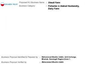 Proposed NU Business Name Sheuli Farm Business Category