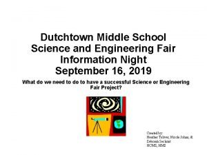 Dutchtown Middle School Science and Engineering Fair Information