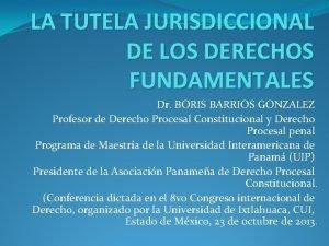 LA TUTELA JURISDICCIONAL DE LOS DERECHOS FUNDAMENTALES Dr