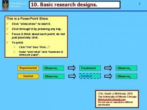 Foundations of Research 10 Basic research designs 1