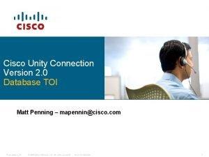 Cisco Unity Connection Version 2 0 Database TOI