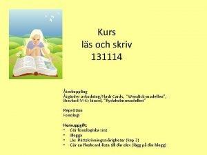 Kurs ls och skriv 131114 terkoppling tgrder avkodningFlash