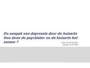 De aanpak van depressie door de huisarts Hoe
