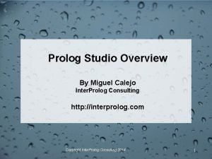 Prolog Studio Overview By Miguel Calejo Inter Prolog