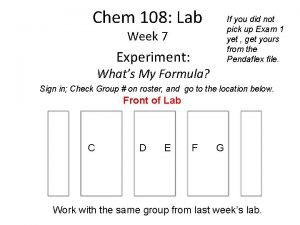 Chem 108 Lab If you did not pick