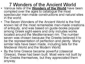 7 Wonders of the Ancient World Various lists