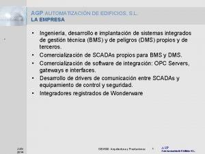 AGP AUTOMATIZACIN DE EDIFICIOS S L LA EMPRESA