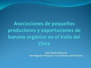 Asociaciones de pequeos productores y exportaciones de banano
