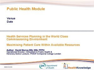Public Health Module Venue Date Health Services Planning