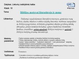 Dalykas Lietuvi valstybin kalba Klas 10 Tema Udavinys