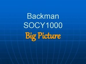 Backman SOCY 1000 Big Picture SOCY 1000 is