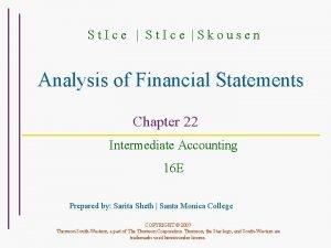 St Ice Skousen Analysis of Financial Statements Chapter