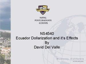 NS 4540 Ecuador Dollarization and its effects Ecuador