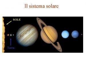 Il sistema solare SOLE Terra Il Sole la