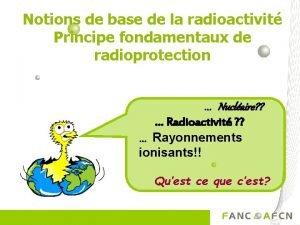 Notions de base de la radioactivit Principe fondamentaux