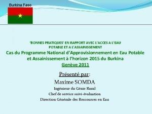 Burkina Faso BONNES PRATIQUES EN RAPPORT AVEC LACCES