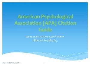 American Psychological Association APA Citation Guide Based on