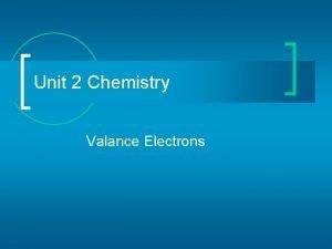 Unit 2 Chemistry Valance Electrons Valence Electrons n