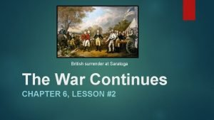 British surrender at Saratoga The War Continues CHAPTER