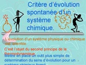 Critre dvolution spontane dun systme chimique Lvolution dun