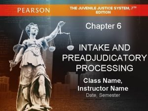 THE JUVENILE JUSTICE SYSTEM 7 TH EDITION Chapter