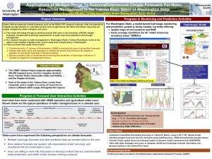 Applications of Medium Range To SeasonalInterannual Climate Forecasts