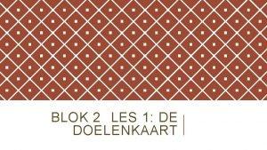 BLOK 2 LES 1 DE DOELENKAART U LEERT