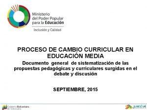 PROCESO DE CAMBIO CURRICULAR EN EDUCACIN MEDIA Documento