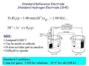 Standard Reference Electrode Standard Hydrogen Electrode SHE SHE