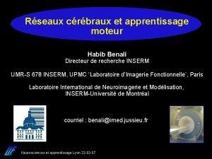 Rseaux crbraux et apprentissage moteur Habib Benali Directeur