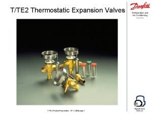 TTE 2 Thermostatic Expansion Valves TTE 2 Product