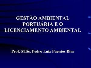 GESTO AMBIENTAL PORTURIA E O LICENCIAMENTO AMBIENTAL Prof