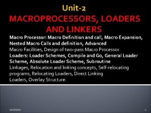 Unit2 MACROPROCESSORS LOADERS AND LINKERS Macro Processor Macro