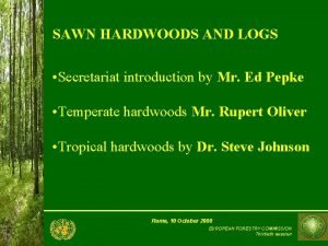SAWN HARDWOODS AND LOGS Secretariat introduction by Mr