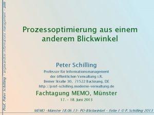 Prof Peter Schilling angewandtes informations management aim Prozessoptimierung