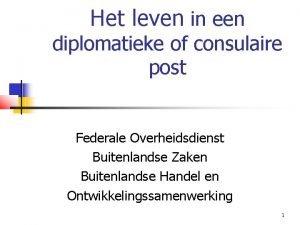 Het leven in een diplomatieke of consulaire post