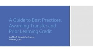 A Guide to Best Practices Awarding Transfer and